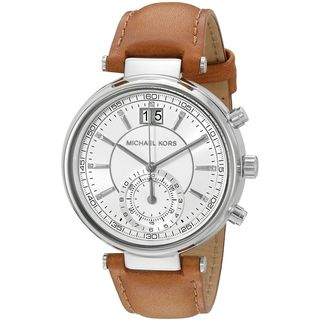 Michael Kors Women's MK2527 'Sawyer' Crystal Brown Leather Watch
