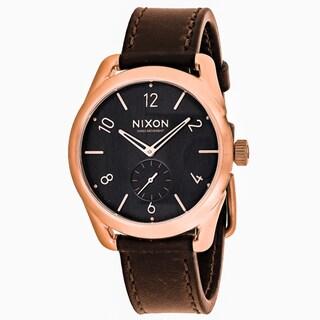 Nixon Men's A459-1890 C39 Round Grey dial Leather strap Watch