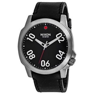 Nixon Men's A466-008 Ranger 45 Round Black dial Leather strap Watch