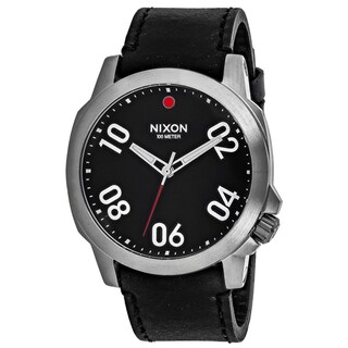 Nixon Men's A466-008 Ranger 45 Round Black dial Leather strap Watch