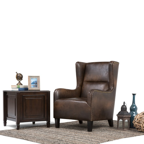 WYNDENHALL Manford Distressed Brown Bonded Leather Wingback Chair