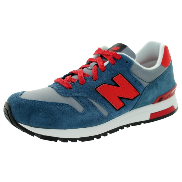 New Balance Men's Rip-Stop Mesh 565 Classics Stone Blue With Velocity Red & Blue Infinity Running Shoe