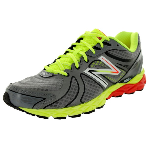 New Balance Men's 870V3 Grey With Lime Green & Red Running Shoe