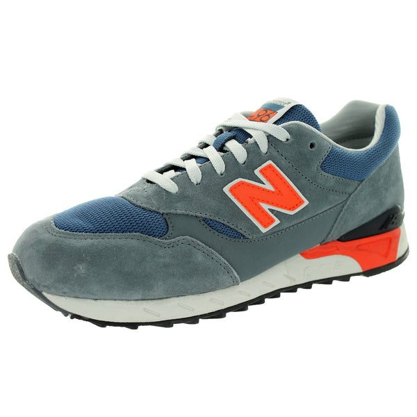 New Balance Men's 80S Running 496 Grey With Navy & Orange Running Shoe