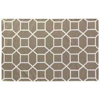 Exquisite Rugs Octagon Dhurrie Dark Sage New Zealand Wool Rug (8' x 11')