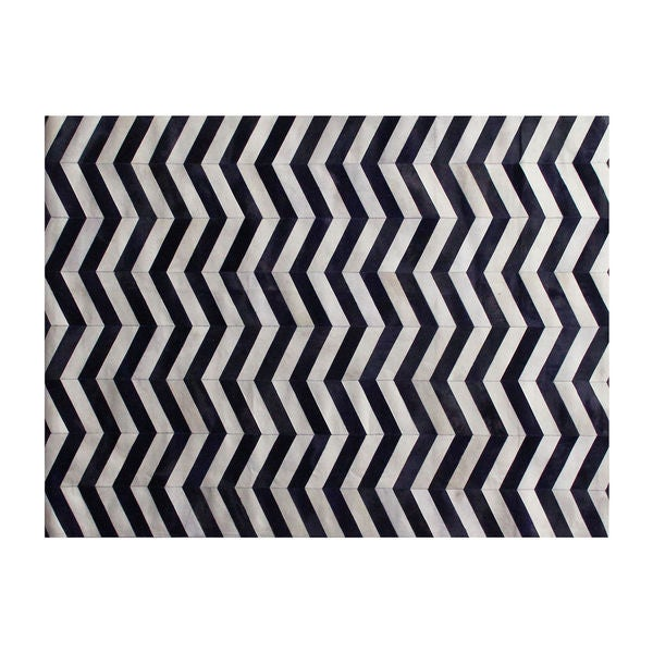 Chevron Hide Navy/ White Leather Hair-on Hide Rug (5' x 8')