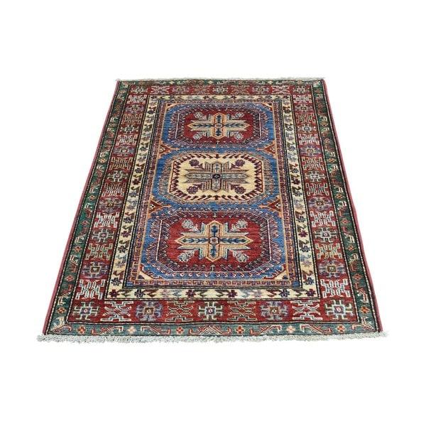 Hand-Knotted Super Kazak Geometric Design Oriental Rug (2'7x3'8)
