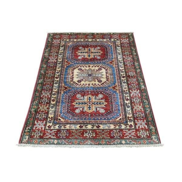 Hand-Knotted Super Kazak Wool Tribal Design Oriental Rug (2'5x3'9)