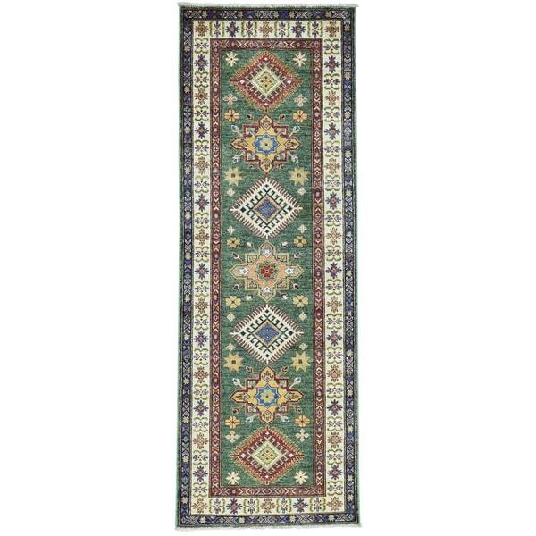 Hand-Knotted Super Kazak Runner Forest Green Carpet (2'7x7'5)