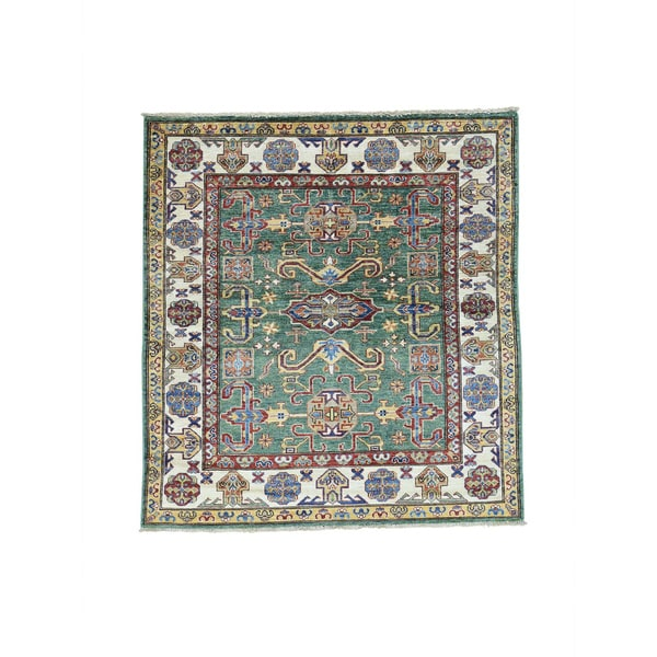 Hand-Knotted Forest Green square Super Kazak Tribal Rug (4'7x5')