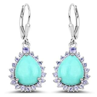 Malaika 8.06 Carat Genuine Turquoise & Tanzanite .925 Sterling Silver Earrings