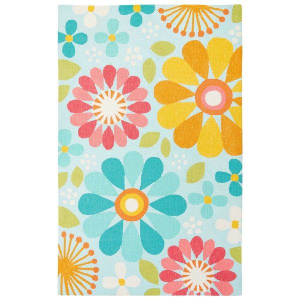 Petit Collage Youth Floral & Leaves Pattern Blue/ Red Polyester Area Rug (2' x 3')