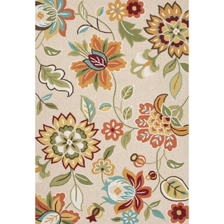 Contemporary Floral & Leaves Pattern Taupe/ Tan Polyester Area Rug (7'6 x 9'6)