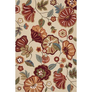 Contemporary Floral & Leaves Pattern Ivory/ White Polyester Area Rug (7'6 x 9'6)