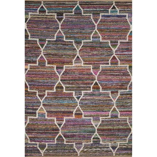 Contemporary Tribal Pattern Multi Recycled Area Rug (8' x 10')