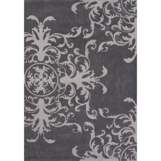 Contemporary Medallion Pattern Grey Polyester Area Rug (7'6 x 9'6)