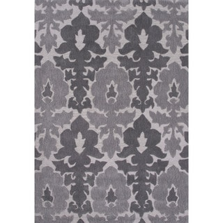 Contemporary Damask Pattern Grey Polyester Area Rug (7'6 x 9'6)
