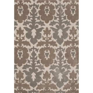 Contemporary Damask Pattern Taupe/ Tan Polyester Area Rug (7'6 x 9'6)