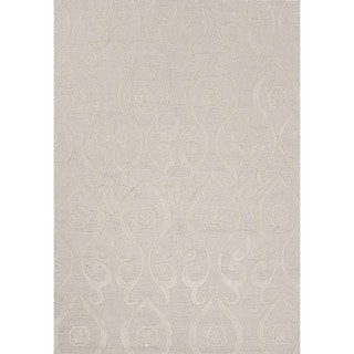 Contemporary Damask Pattern Ivory/ White Polyester Area Rug (7'6 x 9'6)