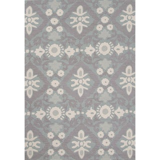 Contemporary Floral & Leaves Pattern Blue Polyester Area Rug (7'6 x 9'6)