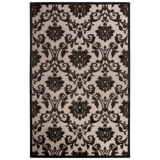 Contemporary Damask Pattern Ivory/ Black Rayon Chenille Area Rug (9x12)