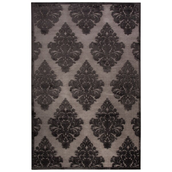 Contemporary Damask Pattern Grey Rayon Chenille Area Rug (9x12)