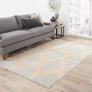 Contemporary Damask Pattern Ivory/ Blue Rayon Chenille Area Rug (7'6 x 9'6)