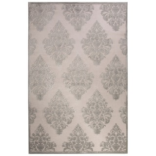 Contemporary Damask Pattern Ivory/ Blue Rayon Chenille Area Rug (9x12)