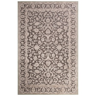 Contemporary Oriental Pattern Grey Rayon Chenille Area Rug (9x12)