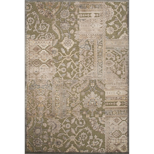 Contemporary Patchwork Pattern Green Rayon and Chenille Area Rug (7.6x10.10)