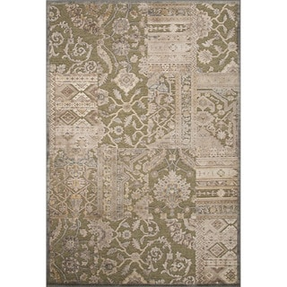 Contemporary Patchwork Pattern Green Rayon and Chenille Area Rug (9'2 x 12'6)