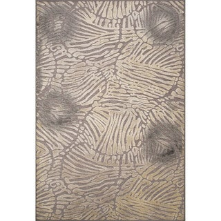 Contemporary Abstract Pattern Grey Rayon and Chenille Area Rug (9'2 x 12'6)