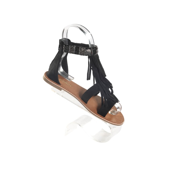 Hadari Women's Black Double Strap Slip On Sandals with Decorative Tassle Beaded Ankle Zip Strap