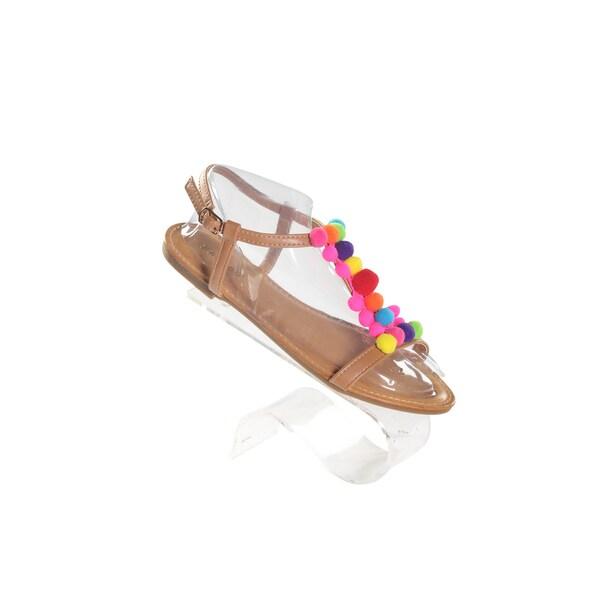 Hadari Women's Pom Pom Open Toe Tan Sandal