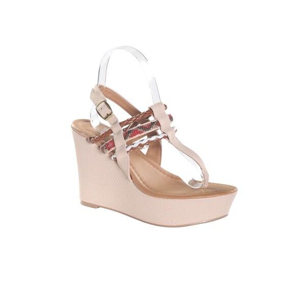Hadari Women's Clear Thong Wedge Platform Sandal