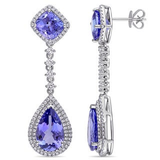 Miadora Signature Collection 14k White Gold Pear-cut Tanzanite and 1 1/4ct TDW Diamond Teardrop Earrings (G-H, SI1-SI2)