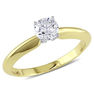 Miadora Signature Collection 14k Yellow Gold 1/2ct TDW Diamond Solitaire Engagement Ring (H-I, I1-I2)