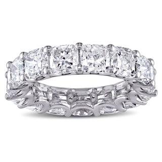 Miadora Signature Collection 18k White Gold 8 1/5ct TDW Certified Cushion-cut Diamond Eternity Ring (G-H, SI1-SI2) (IGI)