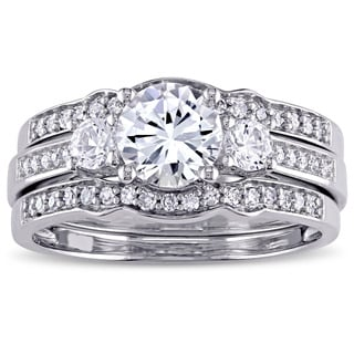 Miadora Signature Collection 10k White Gold Created White Sapphire and 1/4ct TDW Diamond 3-Stone Bridal Ring Set (G-H, I2-I3)