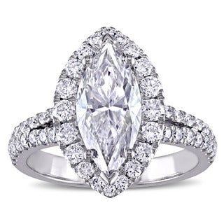 Miadora Signature Collection 18k White Gold 3ct TDW Certified Marquise-cut Diamond Halo Engagement Ring (F, VS2) (GIA)