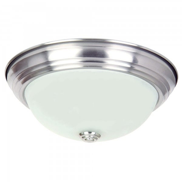 Flush Mount Light Fixture Satin Nickel Finish Steel Flush Mount Ceiling Light Fixture with Soft White Glass
