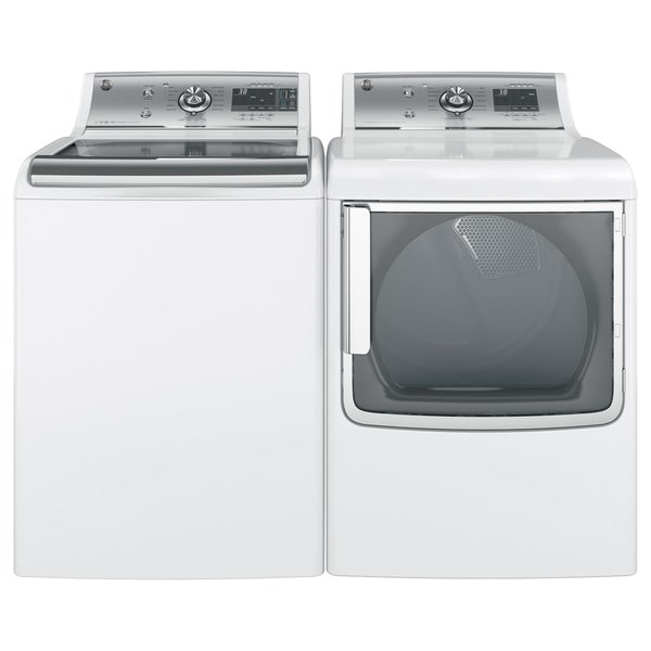 GE White Stainless Steel Washer and Electric Dryer Pair