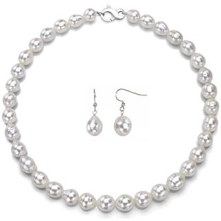 DaVonna Sterling Silver White Off Shape Pearl Necklace with Infinity Clasp and Earring Jewelry Set (11-12 mm)