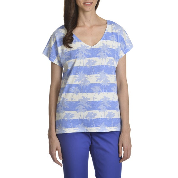 Caribbean Joe Women's Sunset Palm Stripe Print Tee