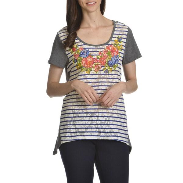 Caribbean Joe Women's Mixed Media Floral Print Lace Top