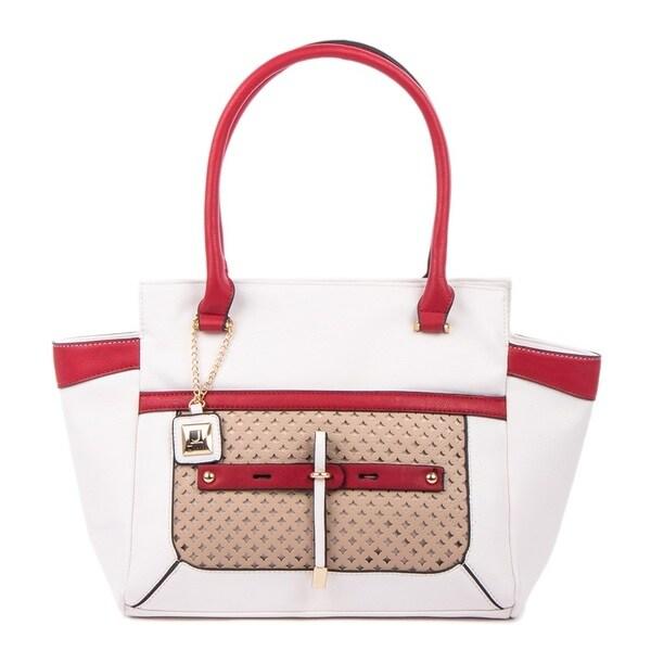 Joanel White/Red Satchel Handbag