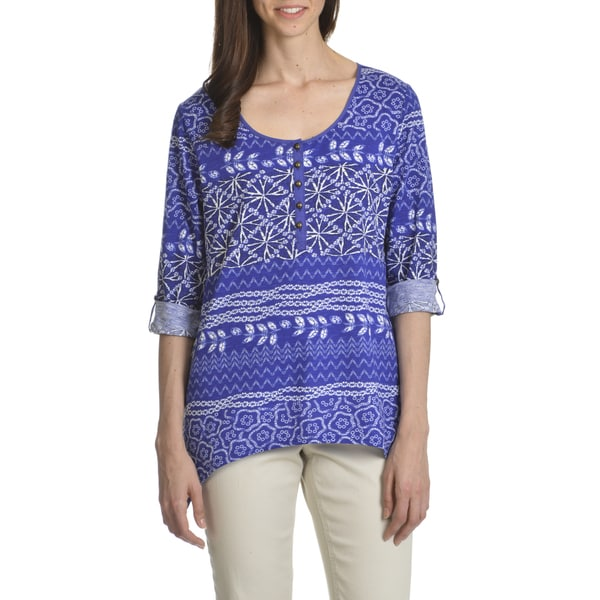 Caribbean Joe Women's Shibori Stripe Uneven Hem Henley Top