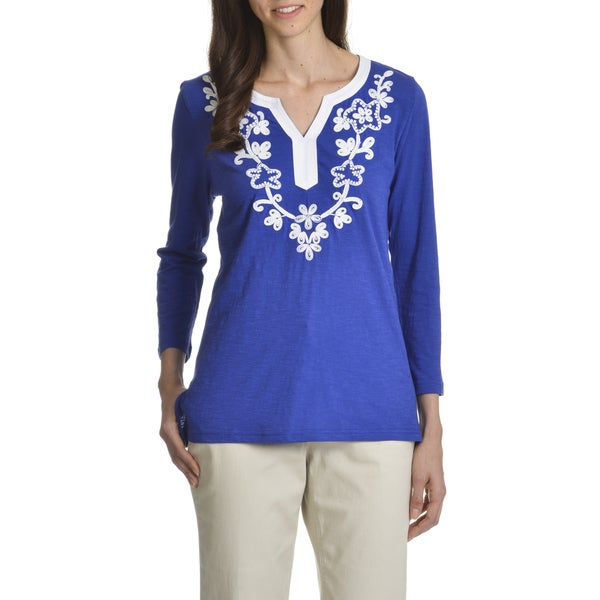 Caribbean Joe Women's Floral Embroidered Top