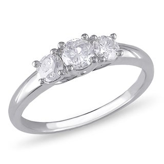 Miadora Signature Collection 10k White Gold 3/4ct TDW Diamond 3-Stone Engagement Ring (G-H, I2-I3)