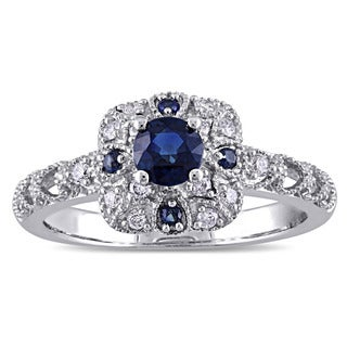 Miadora 10k White Gold Sapphire and 1/6ct TDW Diamond Vintage Halo Engagement Ring (G-H, 12-13)